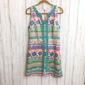 JADE By Melody Tam Aztec Pastel Sheath Dress NWOT